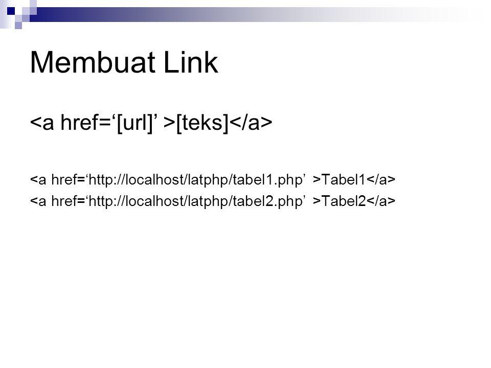 Membuat Link <a href='[url]' >[teks]</a>